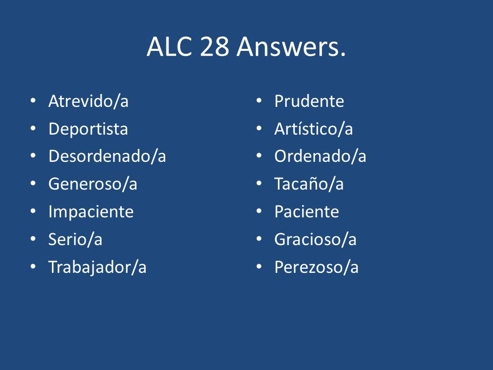 ALC 28 Answers.