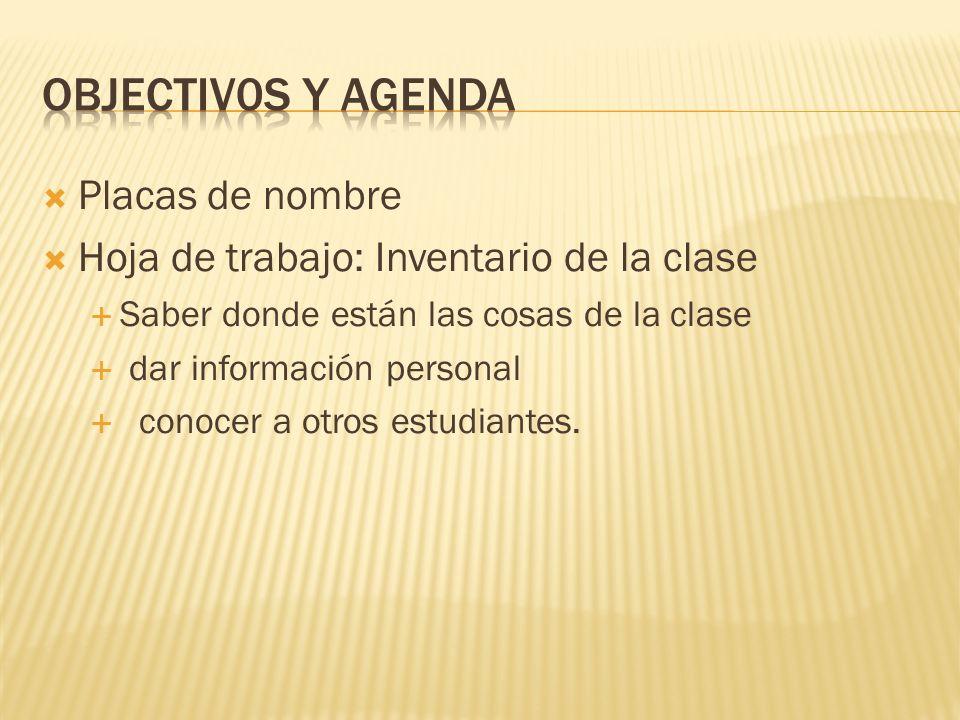 Placas de nombre Hoja de trabajo: Inventario de la clase Saber donde están las cosas de la clase dar información personal conocer a otros estudiantes.