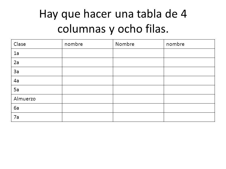 Hay que hacer una tabla de 4 columnas y ocho filas.