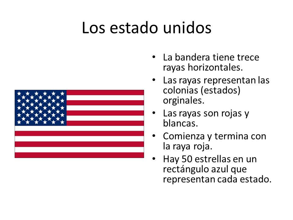 Los estado unidos La bandera tiene trece rayas horizontales.