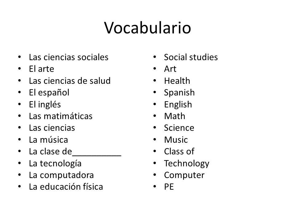Vocabulario Las ciencias sociales El arte Las ciencias de salud El español El inglés Las matimáticas Las ciencias La música La clase de__________ La t
