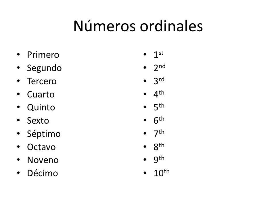 Números ordinales Primero Segundo Tercero Cuarto Quinto Sexto Séptimo Octavo Noveno Décimo 1 st 2 nd 3 rd 4 th 5 th 6 th 7 th 8 th 9 th 10 th