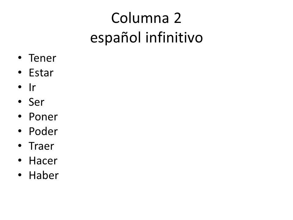 Columna 2 español infinitivo Tener Estar Ir Ser Poner Poder Traer Hacer Haber