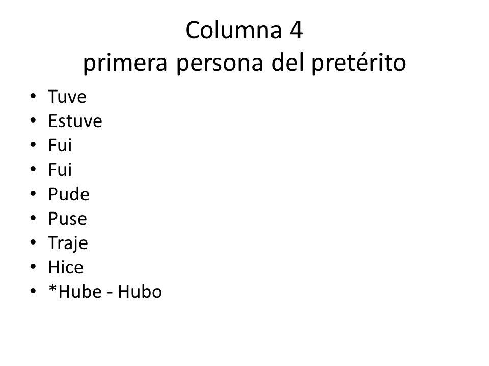 Columna 4 primera persona del pretérito Tuve Estuve Fui Pude Puse Traje Hice *Hube - Hubo