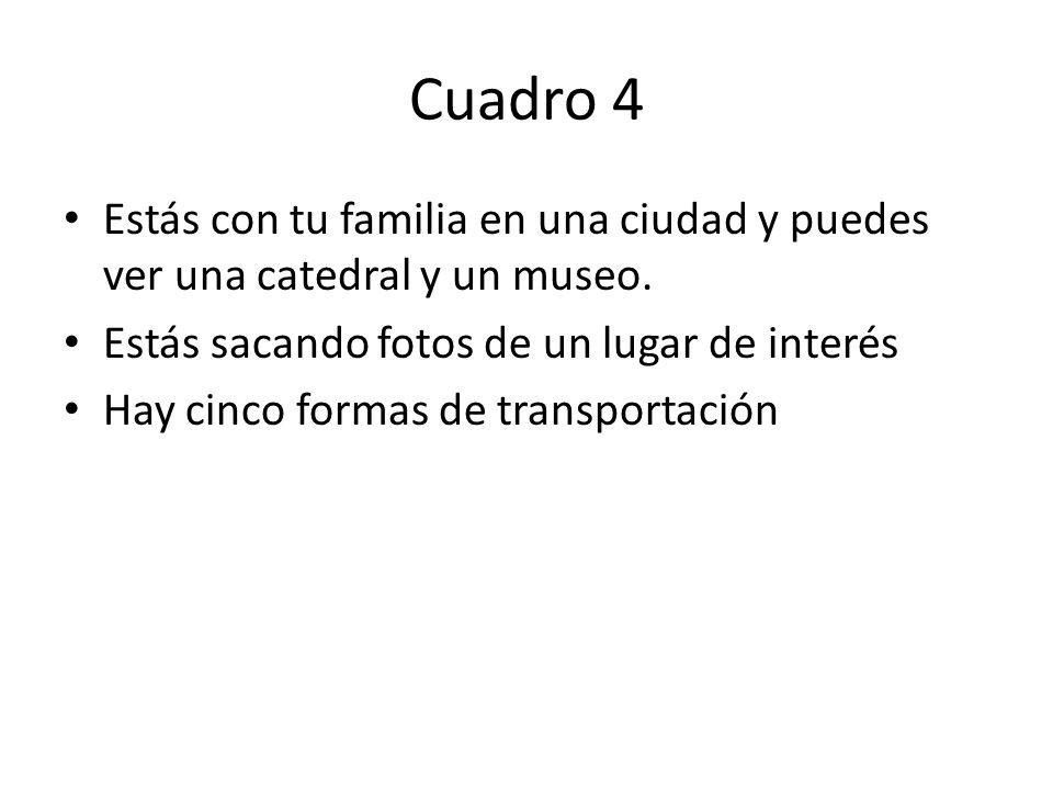 Cuadro 4 Estás con tu familia en una ciudad y puedes ver una catedral y un museo.