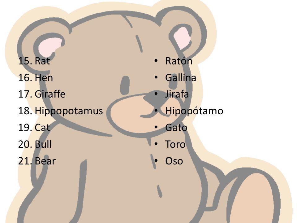 15.Rat 16.Hen 17.Giraffe 18.Hippopotamus 19.Cat 20.Bull 21.Bear Ratón Gallina Jirafa Hipopótamo Gato Toro Oso