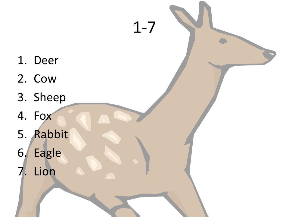 1-7 1.Deer 2.Cow 3.Sheep 4.Fox 5.Rabbit 6.Eagle 7.Lion