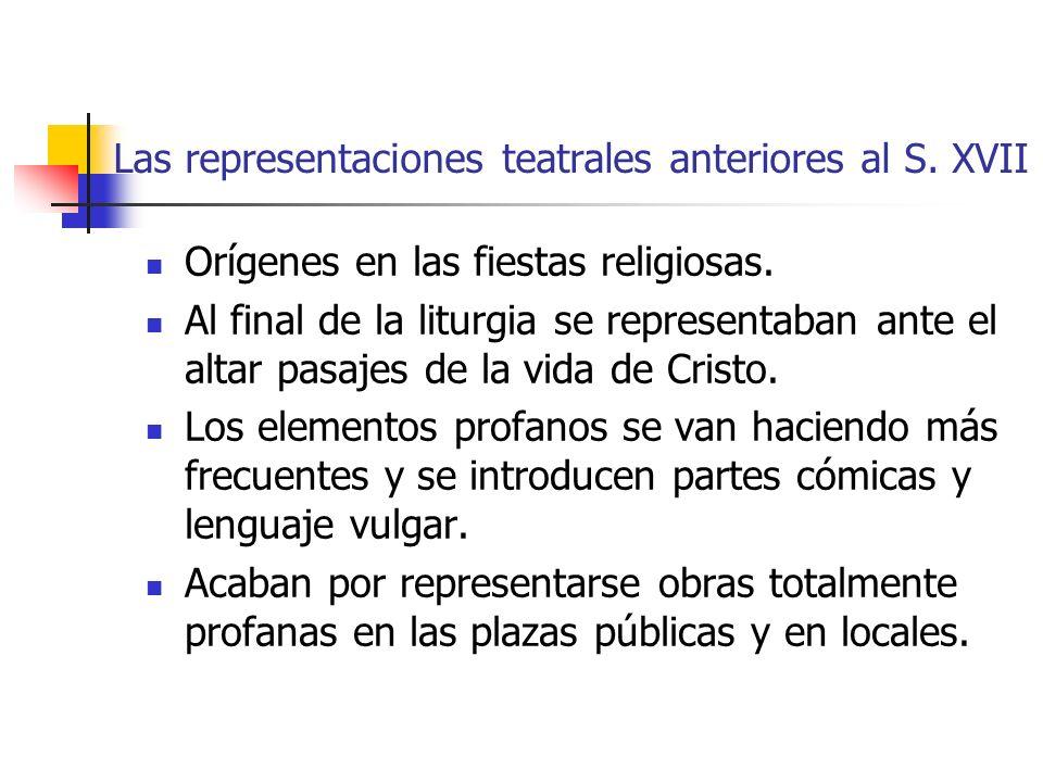 Las representaciones teatrales anteriores al S.XVII Orígenes en las fiestas religiosas.