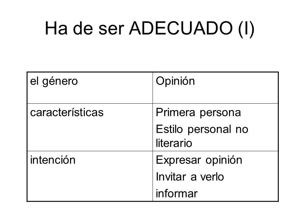 Ha de ser ADECUADO(II) ReceptorJóvenes estudiantes canalBlog personal registroEstandar con rasgos coloquiales Recuerda el esquema de las propiedades del textolas propiedades del texto