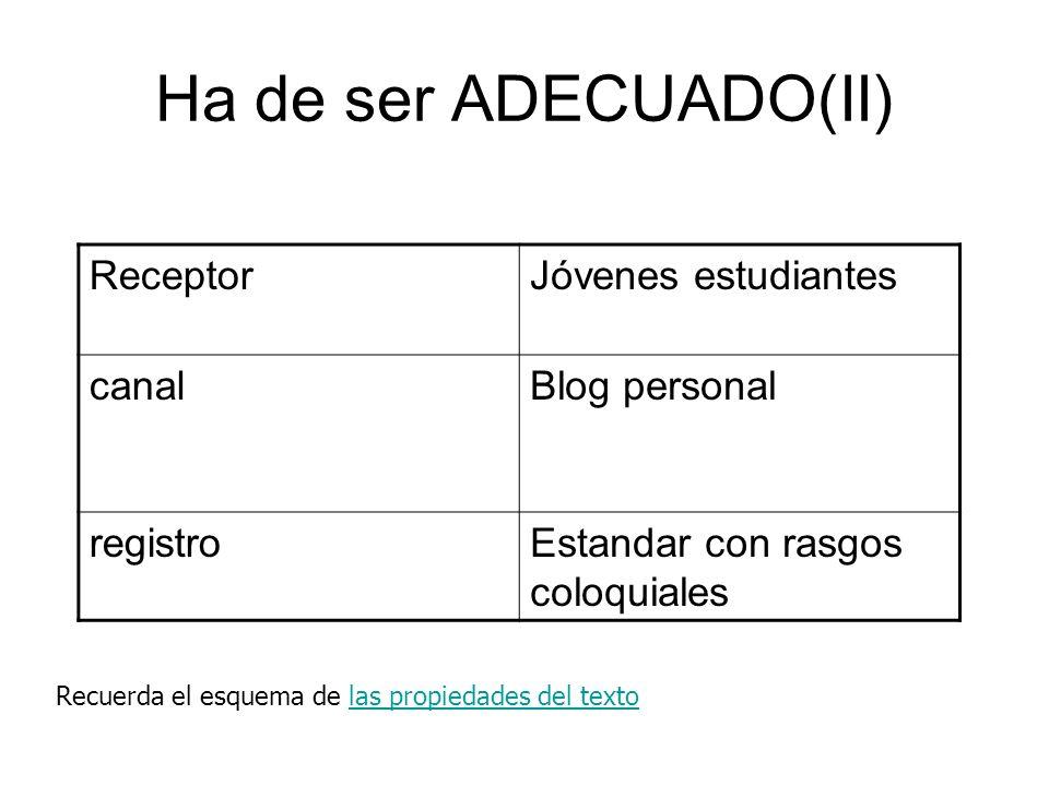 Ha de ser ADECUADO(II) ReceptorJóvenes estudiantes canalBlog personal registroEstandar con rasgos coloquiales Recuerda el esquema de las propiedades d