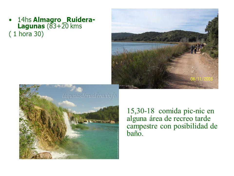 14hs Almagro _Ruidera- Lagunas (83+20 kms ( 1 hora 30) 15,30-18 comida pic-nic en alguna área de recreo tarde campestre con posibilidad de baño.
