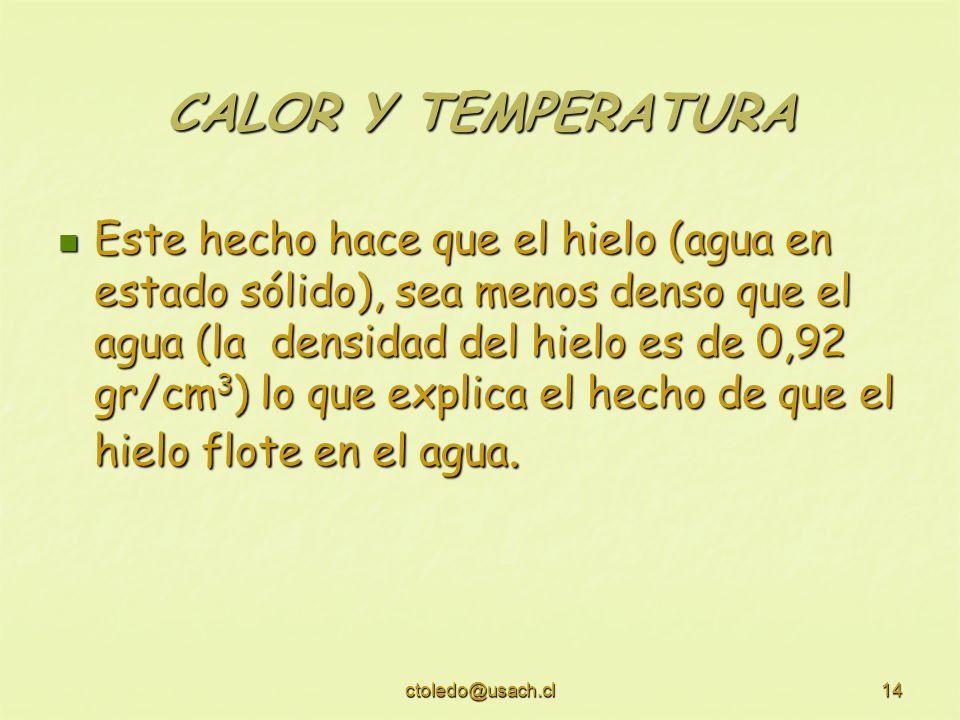 ctoledo@usach.cl14 CALOR Y TEMPERATURA Este hecho hace que el hielo (agua en estado sólido), sea menos denso que el agua (la densidad del hielo es de