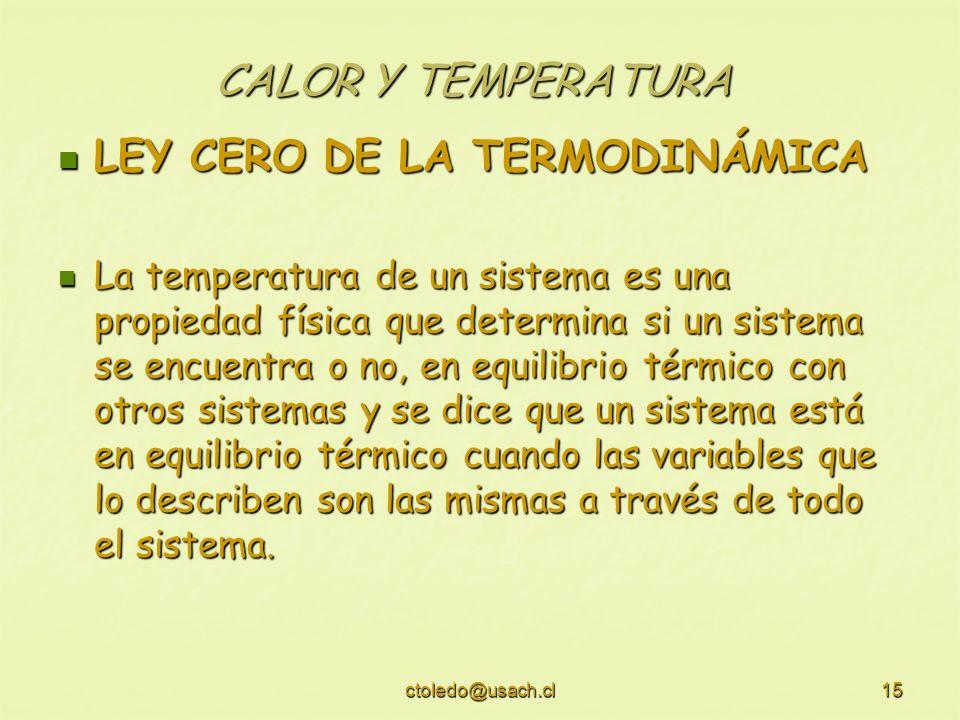 ctoledo@usach.cl15 CALOR Y TEMPERATURA LEY CERO DE LA TERMODINÁMICA LEY CERO DE LA TERMODINÁMICA La temperatura de un sistema es una propiedad física