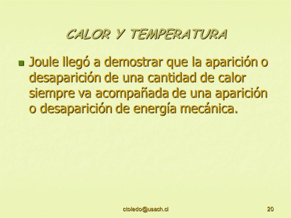 ctoledo@usach.cl20 CALOR Y TEMPERATURA Joule llegó a demostrar que la aparición o desaparición de una cantidad de calor siempre va acompañada de una a