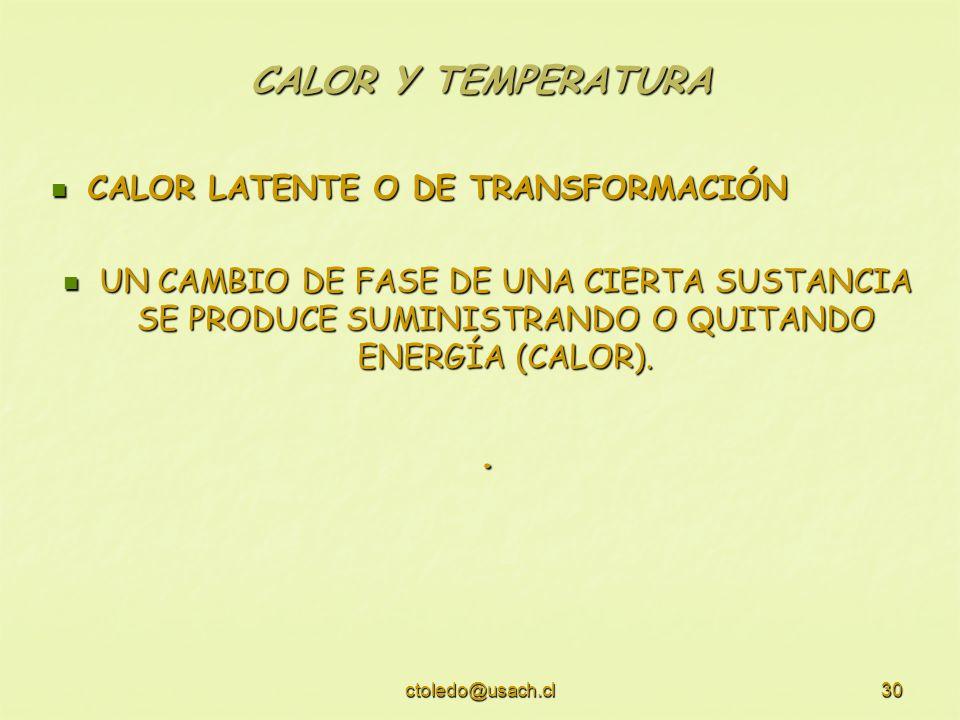 ctoledo@usach.cl30 CALOR Y TEMPERATURA CALOR LATENTE O DE TRANSFORMACIÓN CALOR LATENTE O DE TRANSFORMACIÓN UN CAMBIO DE FASE DE UNA CIERTA SUSTANCIA S