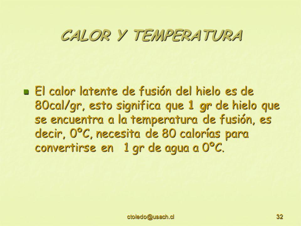 ctoledo@usach.cl32 CALOR Y TEMPERATURA El calor latente de fusión del hielo es de 80cal/gr, esto significa que 1 gr de hielo que se encuentra a la tem