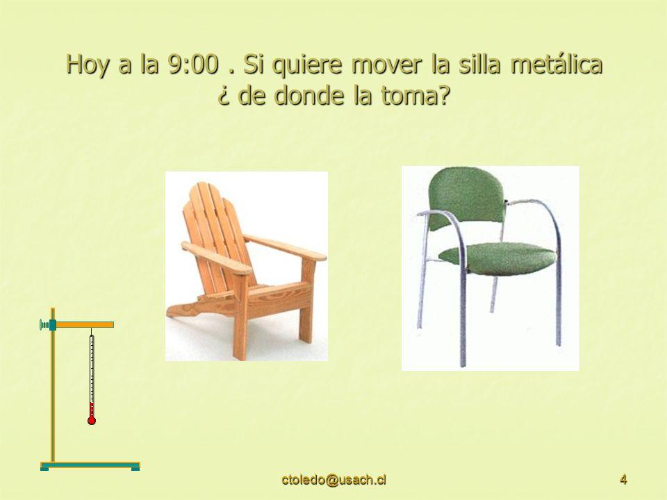 ctoledo@usach.cl4 Hoy a la 9:00. Si quiere mover la silla metálica ¿ de donde la toma?
