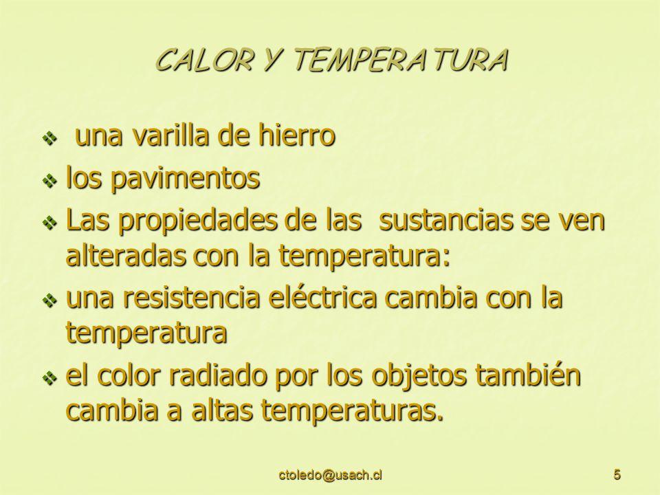 ctoledo@usach.cl6 CALOR Y TEMPERATURA LOLO L O + ΔL ΔL L = LO T, es el coeficiente de dilatación lineal, que es una propiedad de cada material Los sólidos se dilatan o contraen con el calor