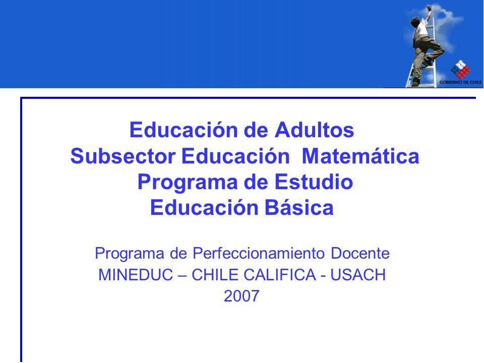 Educación de Adultos Subsector Educación Matemática Programa de Estudio Educación Básica Programa de Perfeccionamiento Docente MINEDUC – CHILE CALIFIC