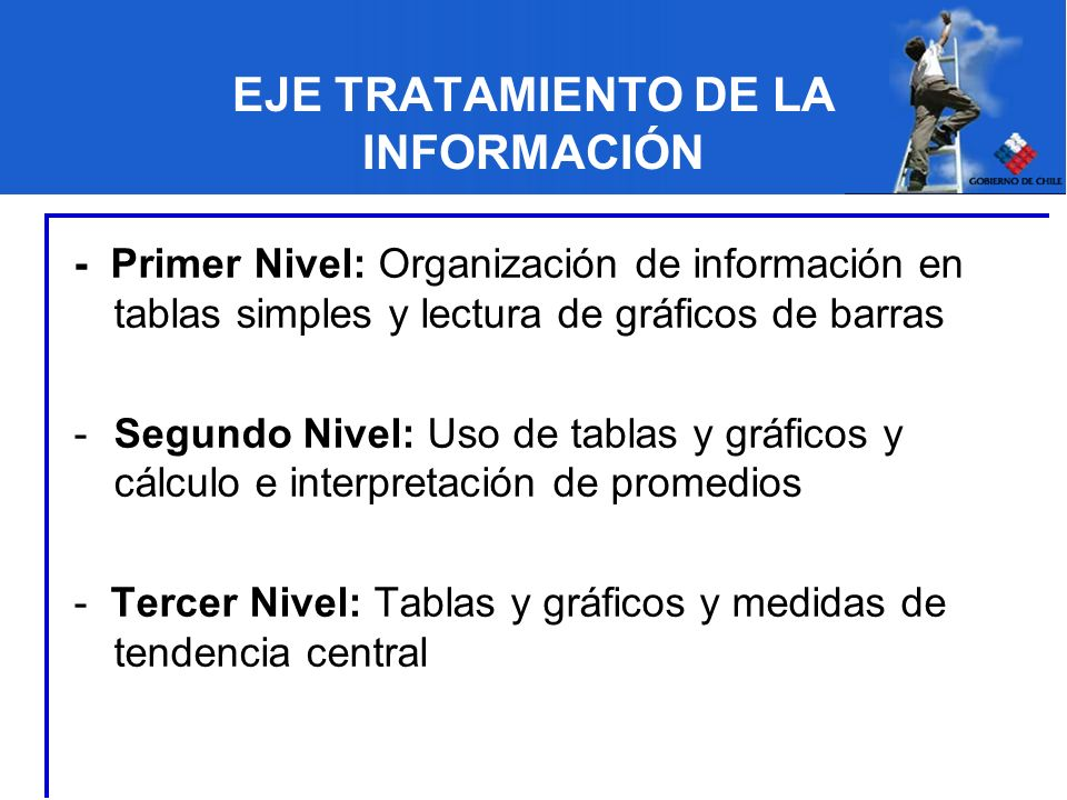 EJE TRATAMIENTO DE LA INFORMACIÓN - Primer Nivel: Organización de información en tablas simples y lectura de gráficos de barras -Segundo Nivel: Uso de