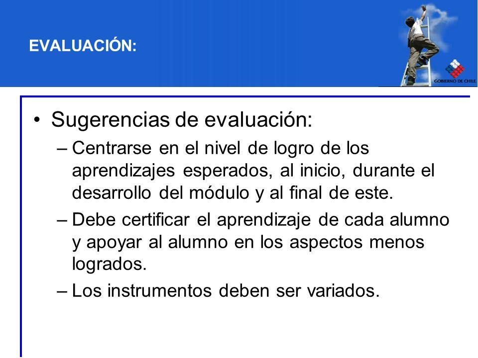 EVALUACIÓN: Sugerencias de evaluación: –Centrarse en el nivel de logro de los aprendizajes esperados, al inicio, durante el desarrollo del módulo y al