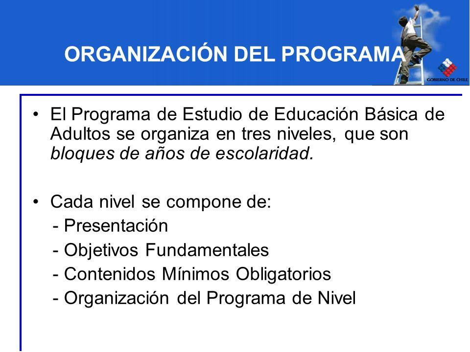 ORGANIZACIÓN DEL PROGRAMA El Programa de Estudio de Educación Básica de Adultos se organiza en tres niveles, que son bloques de años de escolaridad. C