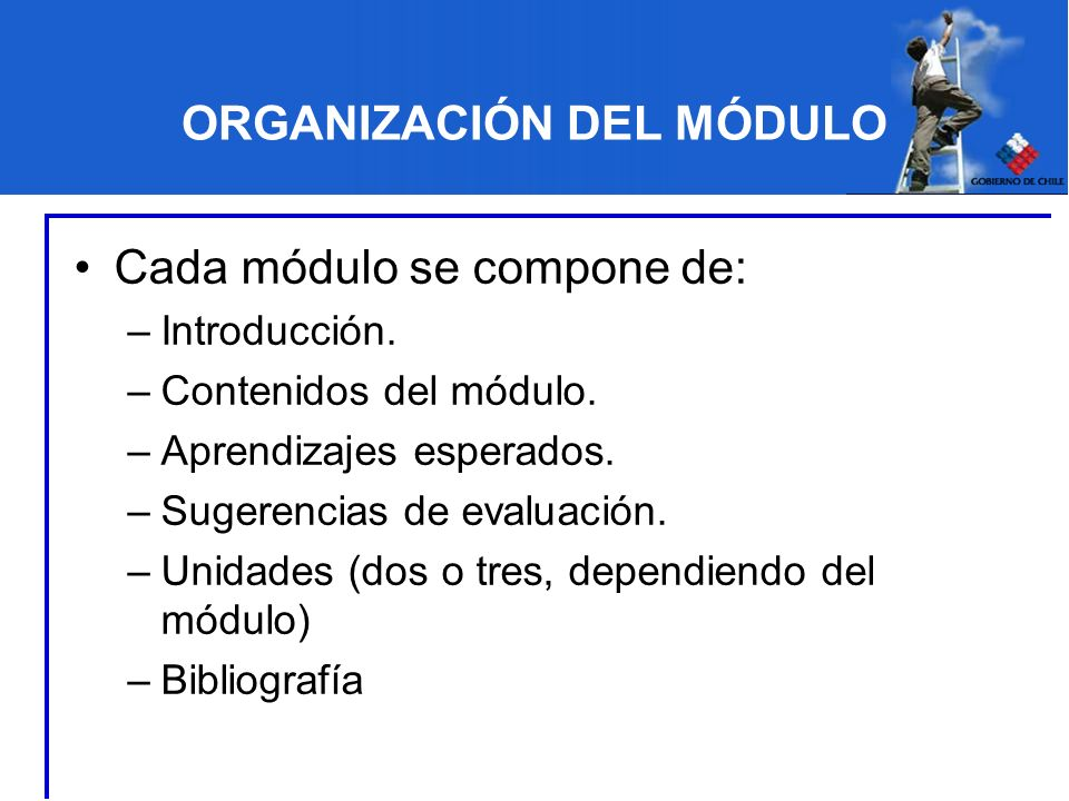 ORGANIZACIÓN DEL MÓDULO Cada módulo se compone de: –Introducción. –Contenidos del módulo. –Aprendizajes esperados. –Sugerencias de evaluación. –Unidad