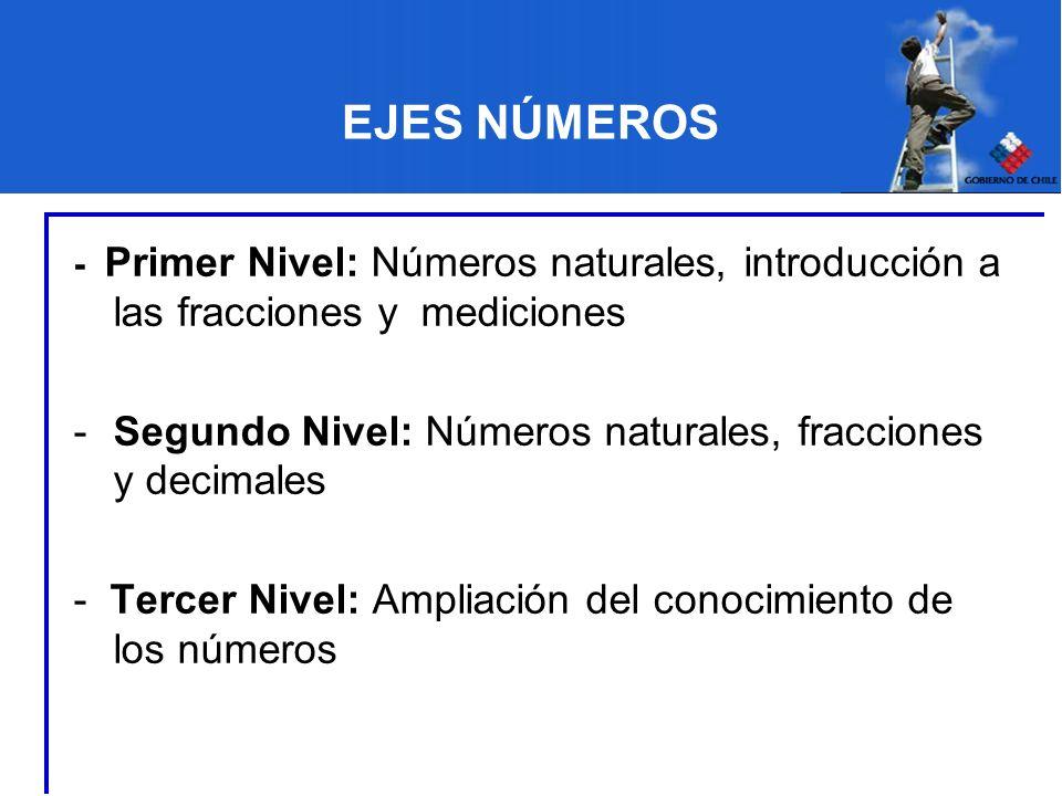 EJES NÚMEROS - Primer Nivel: Números naturales, introducción a las fracciones y mediciones -Segundo Nivel: Números naturales, fracciones y decimales -