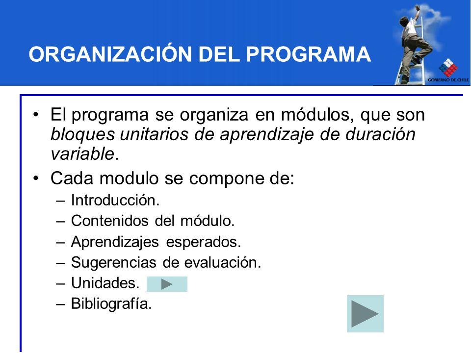 ORGANIZACIÓN DEL PROGRAMA El programa se organiza en módulos, que son bloques unitarios de aprendizaje de duración variable. Cada modulo se compone de