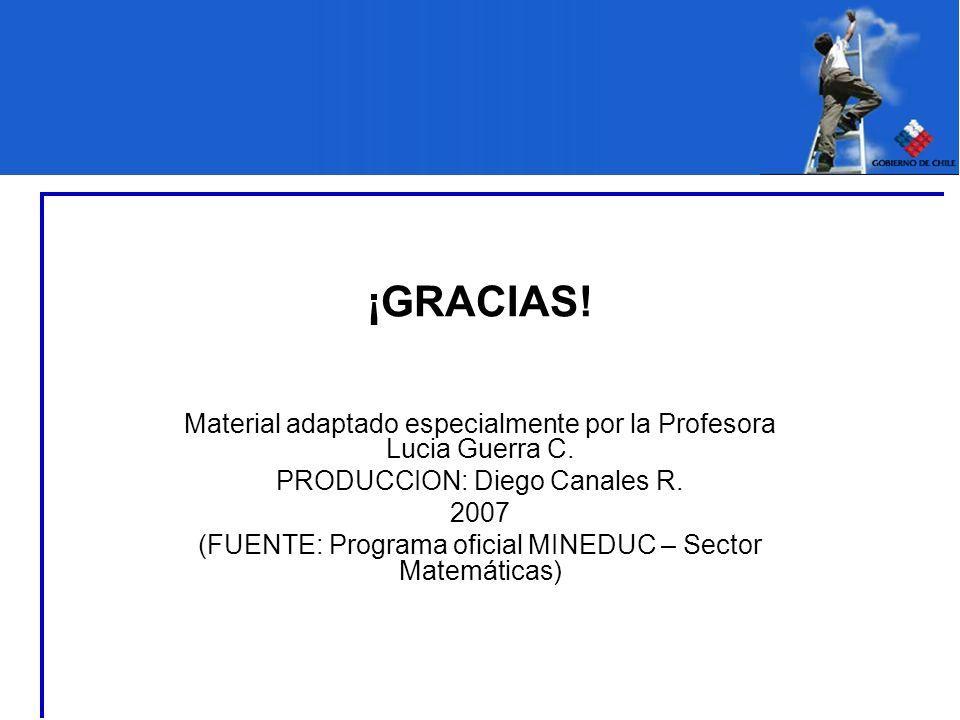 ¡GRACIAS! Material adaptado especialmente por la Profesora Lucia Guerra C. PRODUCCION: Diego Canales R. 2007 (FUENTE: Programa oficial MINEDUC – Secto