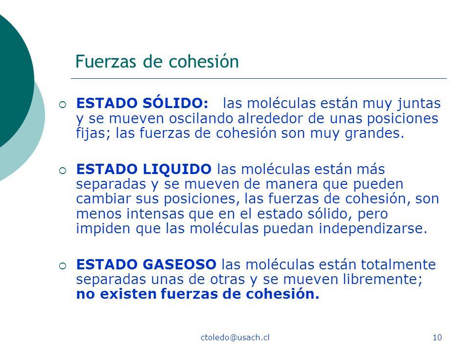 ctoledo@usach.cl10 Fuerzas de cohesión ESTADO SÓLIDO: las moléculas están muy juntas y se mueven oscilando alrededor de unas posiciones fijas; las fue