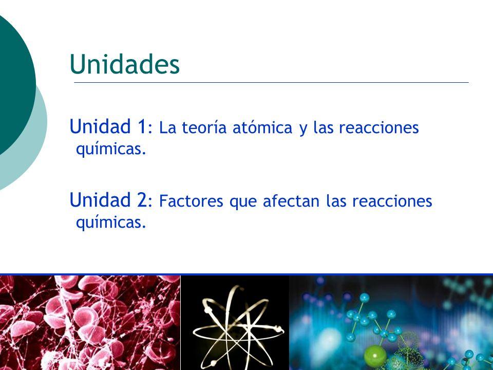 ctoledo@usach.cl14 Unidades Unidad 1 : La teoría atómica y las reacciones químicas. Unidad 2 : Factores que afectan las reacciones químicas.