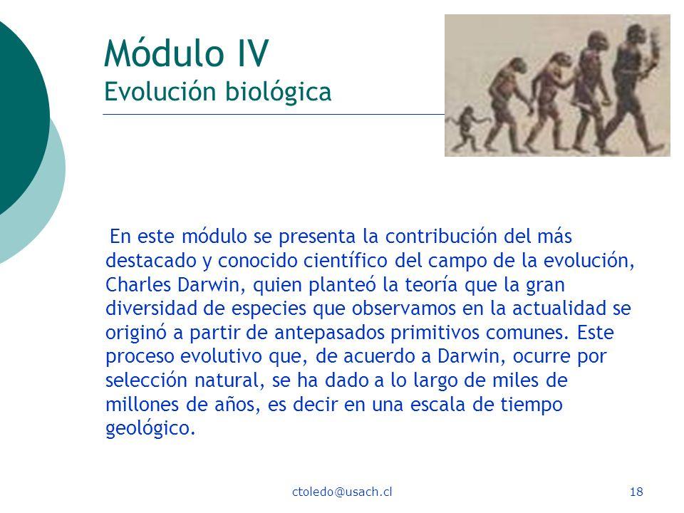 ctoledo@usach.cl18 Módulo IV Evolución biológica En este módulo se presenta la contribución del más destacado y conocido científico del campo de la ev