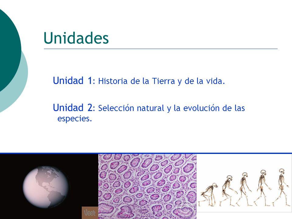 ctoledo@usach.cl19 Unidades Unidad 1 : Historia de la Tierra y de la vida. Unidad 2 : Selección natural y la evolución de las especies.