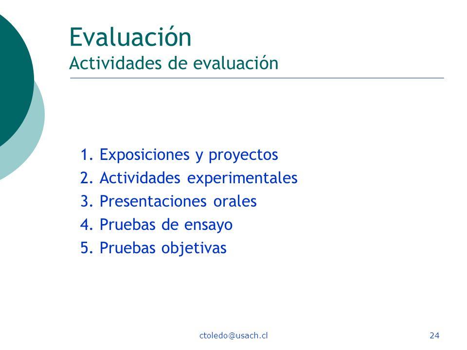 ctoledo@usach.cl24 Evaluación Actividades de evaluación 1. Exposiciones y proyectos 2. Actividades experimentales 3. Presentaciones orales 4. Pruebas