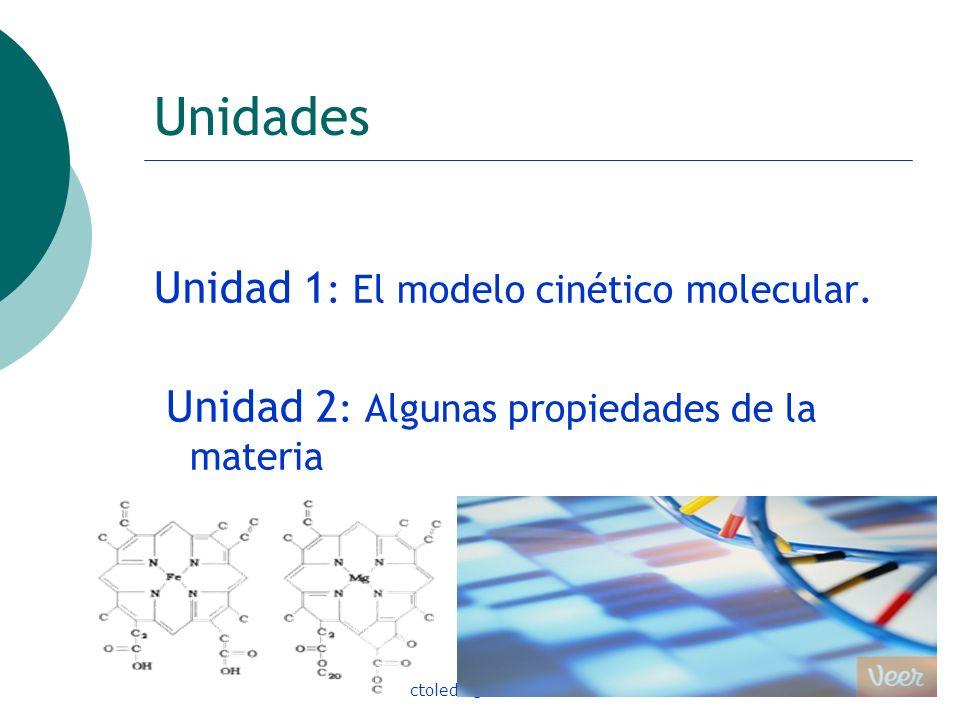 ctoledo@usach.cl7 Unidades Unidad 1 : El modelo cinético molecular. Unidad 2 : Algunas propiedades de la materia