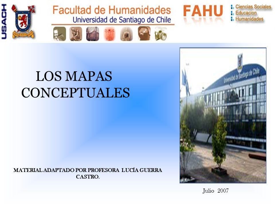 Julio 2007 LOS MAPAS CONCEPTUALES MATERIAL ADAPTADO POR PROFESORA LUCÍA GUERRA CASTRO.