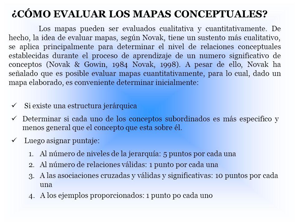 ¿CÓMO EVALUAR LOS MAPAS CONCEPTUALES? Los mapas pueden ser evaluados cualitativa y cuantitativamente. De hecho, la idea de evaluar mapas, según Novak,