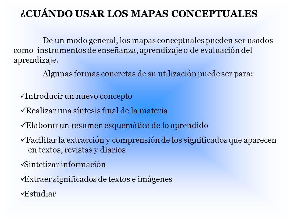 ¿CUÁNDO USAR LOS MAPAS CONCEPTUALES De un modo general, los mapas conceptuales pueden ser usados como instrumentos de enseñanza, aprendizaje o de eval