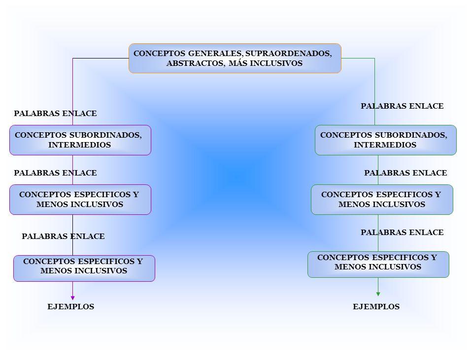 CONCEPTOS GENERALES, SUPRAORDENADOS, ABSTRACTOS, MÁS INCLUSIVOS CONCEPTOS SUBORDINADOS, INTERMEDIOS CONCEPTOS ESPECIFICOS Y MENOS INCLUSIVOS CONCEPTOS