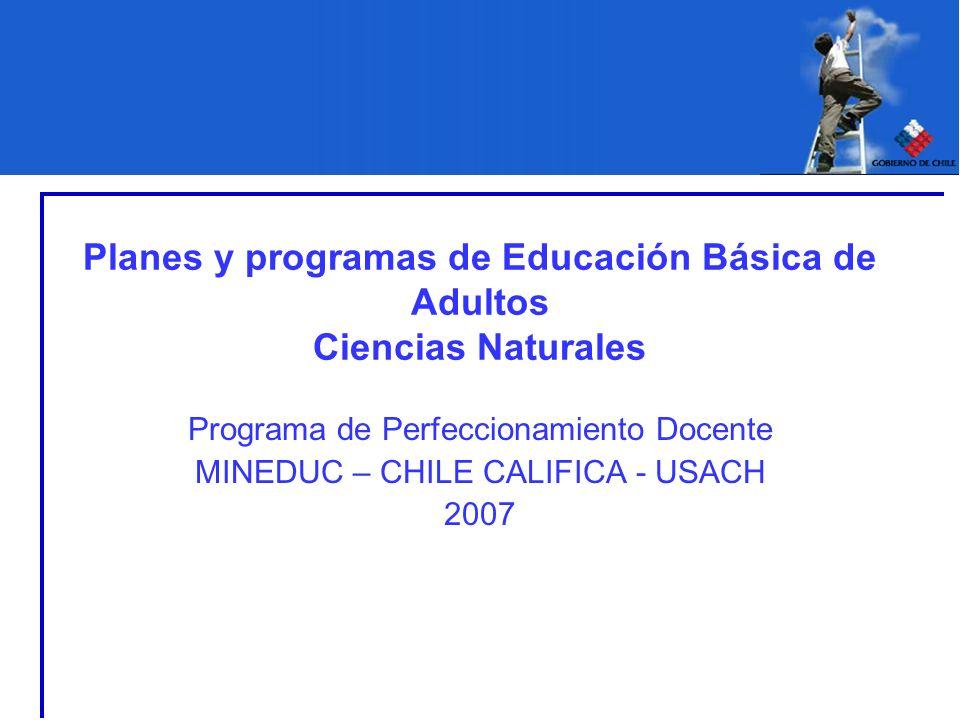 Planes y programas de Educación Básica de Adultos Ciencias Naturales Programa de Perfeccionamiento Docente MINEDUC – CHILE CALIFICA - USACH 2007