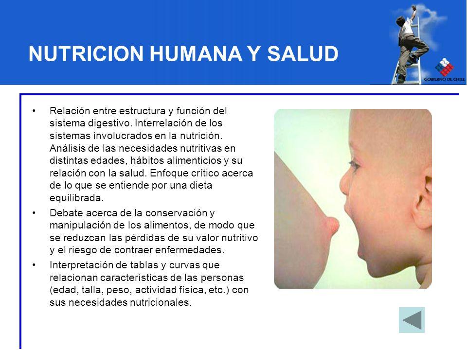 NUTRICION HUMANA Y SALUD Relación entre estructura y función del sistema digestivo. Interrelación de los sistemas involucrados en la nutrición. Anális