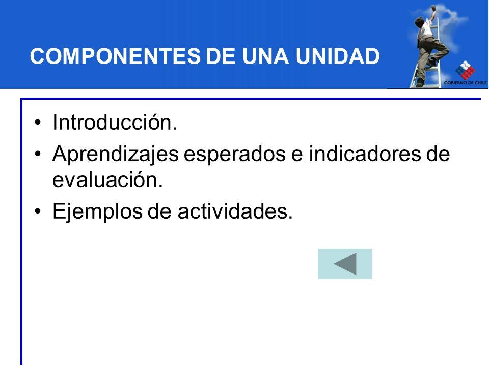 COMPONENTES DE UNA UNIDAD Introducción. Aprendizajes esperados e indicadores de evaluación. Ejemplos de actividades.