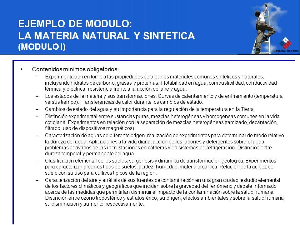 Contenidos mínimos obligatorios: –Experimentación en torno a las propiedades de algunos materiales comunes sintéticos y naturales, incluyendo hidratos