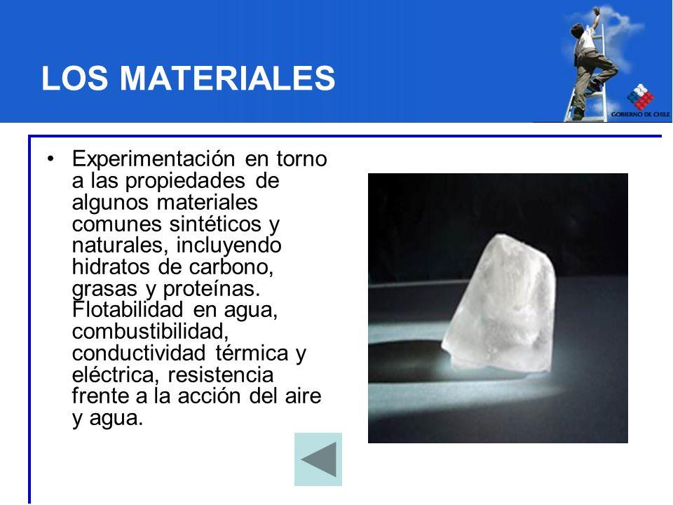 LOS MATERIALES Experimentación en torno a las propiedades de algunos materiales comunes sintéticos y naturales, incluyendo hidratos de carbono, grasas