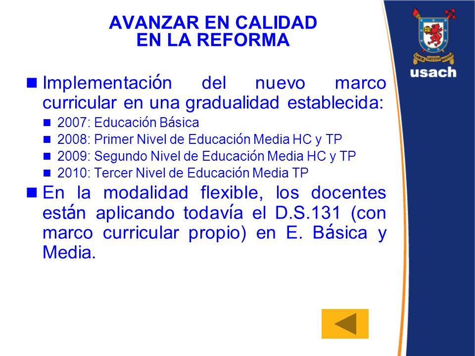 AVANZAR EN CALIDAD EN LA REFORMA Implementaci ó n del nuevo marco curricular en una gradualidad establecida: 2007: Educaci ó n B á sica 2008: Primer N
