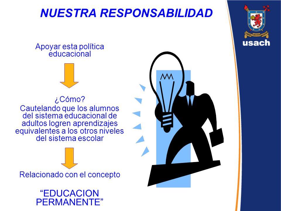 NUESTRA RESPONSABILIDAD Apoyar esta política educacional ¿Cómo? Cautelando que los alumnos del sistema educacional de adultos logren aprendizajes equi