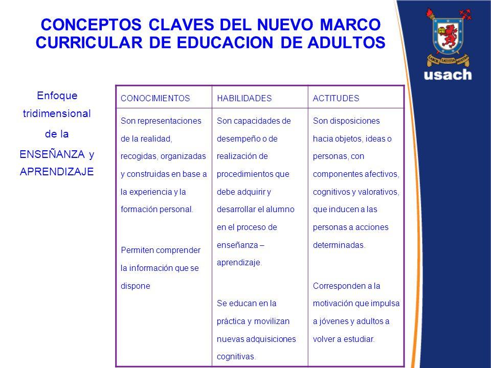 CONCEPTOS CLAVES DEL NUEVO MARCO CURRICULAR DE EDUCACION DE ADULTOS Enfoque tridimensional de la ENSEÑANZA y APRENDIZAJE CONOCIMIENTOSHABILIDADESACTIT