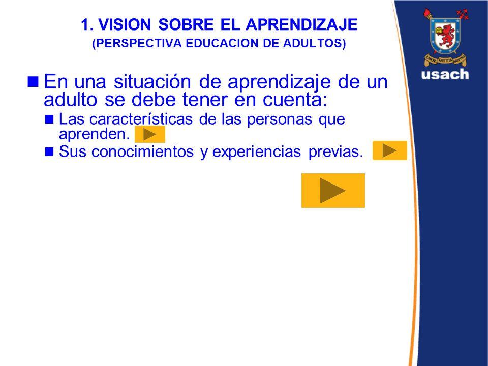 1. VISION SOBRE EL APRENDIZAJE (PERSPECTIVA EDUCACION DE ADULTOS) En una situación de aprendizaje de un adulto se debe tener en cuenta: Las caracterís