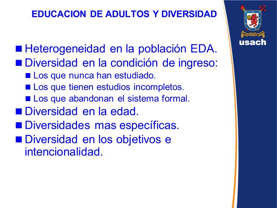 EDUCACION DE ADULTOS Y DIVERSIDAD Heterogeneidad en la población EDA. Diversidad en la condición de ingreso: Los que nunca han estudiado. Los que tien